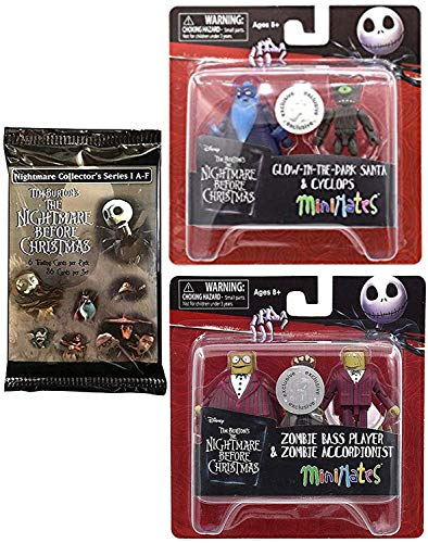 Glow Dark Santa Nightmare Before Christmas Mini Figures Art Trading Cards Theme Pack + Cyclops Exclusive Minifigure TRU 2-Pack Bass Player Accordionist Mini -