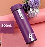 1A2B3C Double Walled Vacuum Insulated Stainless Steel Water Bottle Vacuum Flask Travel Mug with Tea Leaf Filter strainer 16oz (Purple)