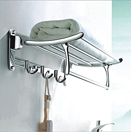 PESCA Platinum Stainless Steel Folding Towel Rack (2 feet long) (24 inch) Pack Of (2) (MAKE IN INDIA)