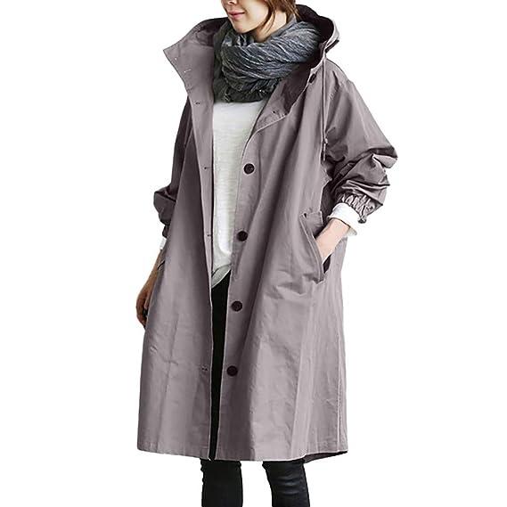 Darringls Chaqueta Mujer cálido, Abrigos con Capucha Talla Grande Hoodie SeccióN Larga Chaqueta botón: Amazon.es: Ropa y accesorios
