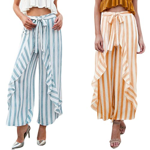 2018 Palazzo Pants,Women Stripe Ruffle Bottom Sash High Waist Wide Leg Beach Trousers by-NEWONSUN by NEWONESUN-Pant (Image #1)