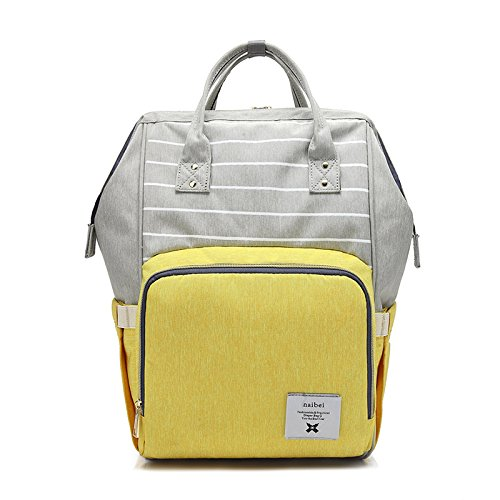 Firecos Diaper Bag Waterproof Backpack for Baby Travel Large Capacity Durable Nurse Bag (Stripe Yellow)