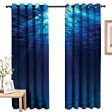 Best Eclipse Home Fashion Thermal Insulated Blackout Curtains Royal Blues - LewisColeridge Blackout Curtains Ocean,Underwater View with Sandy Seabed Review