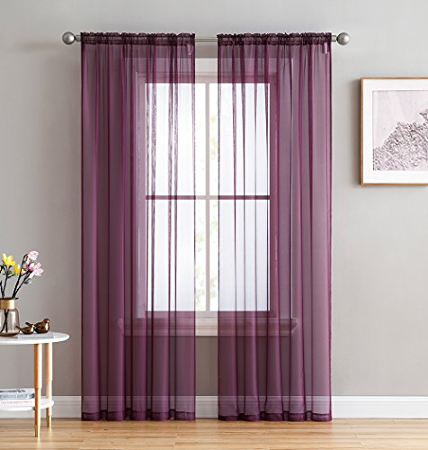 (HLCME Plum 2 Pack 55 inch by 84 inch Window Curtain Sheer)