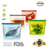 4 Packs Silicon Food Storage Bags, Reusable Refrigerator Sous Vide Bag For Freeze,Microwave,Steam,Fruits and Vegetables Etc.