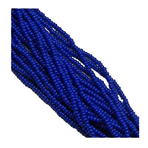 Blue Opaque Czech 6/0 Seed Bead on Loose Strung 6 String Hank Approx 900 Beads