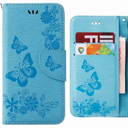 Ougger Funda Huawei Honor 7C Carcasa, Cuero Tapa Piel Billetera Magnética Protector TPU Suave Silicona Flip Cover Carcasa Huawei Honor 7C con Ranura para Tarjetas, Mariposa Tira (Rose) Azul