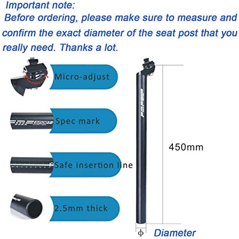 Bike Bicycle MTB Replacement Extra Long Seatpost Seat Post φ 25.4 350mm 450mm