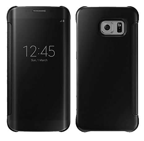 watch d333d 89c6d Gravydeals® Smart View Mirror Case For Samsung Galaxy Note 4 Phone  Protector Window Clear UV Leather + Hard Plastic Filp Back Cover Coque  (Black)