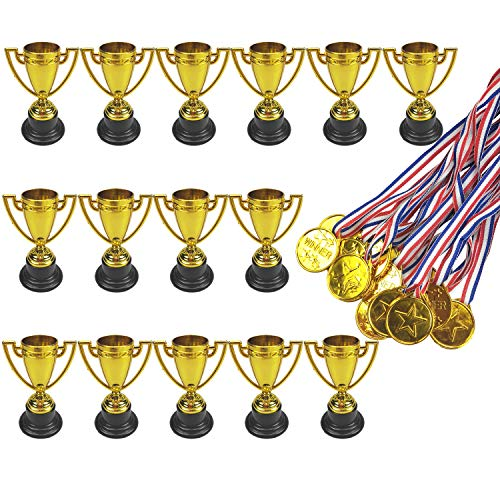15 Pcs Plastic Toy Gold Award Trophy Cups and 15 Pcs Gold Winner Medals Great Party Favors for Kids by MOMOONNON -