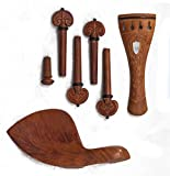 Hand Carved Inlay Jujube Violin Parts (Pegs, Chinrest, Tailpiece, Endpin, Clamp)
