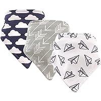 Hudson Baby Bandana Bib 3 Piece, Paper Airplane