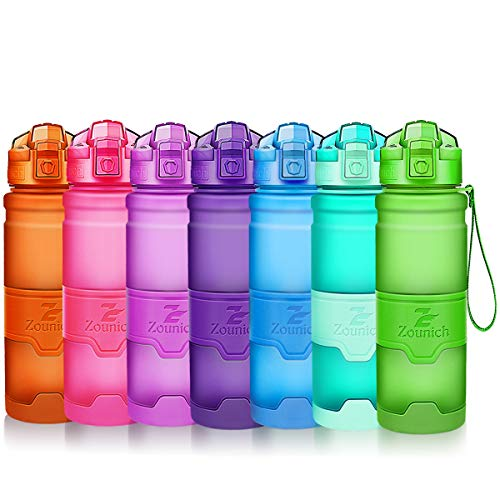 Sports Water Bottle Plastic Drinking Bottles BPA Free Leakproof with filter&time marker&Scratch Resistant,Flip Top With 1 Click Reusable For Kids,400/500/700ml/1L,60oz,for (Scratch Resistant Top)