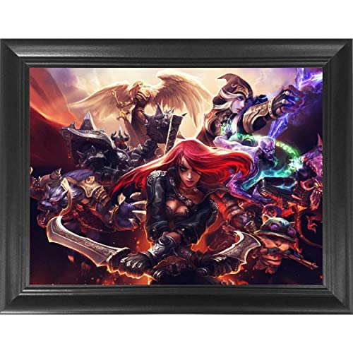 League of Legends 3D Poster Wall Art Decor Framed Print | 14.5x18.5 | Lenticular Posters & Pictures | Memorabilia Gifts for Guys & Girls Bedroom | LOL Fan Art | Katrina, Teemo, Kayle, Warwick & Ashe (League Of Legends Wallpaper Black And White)