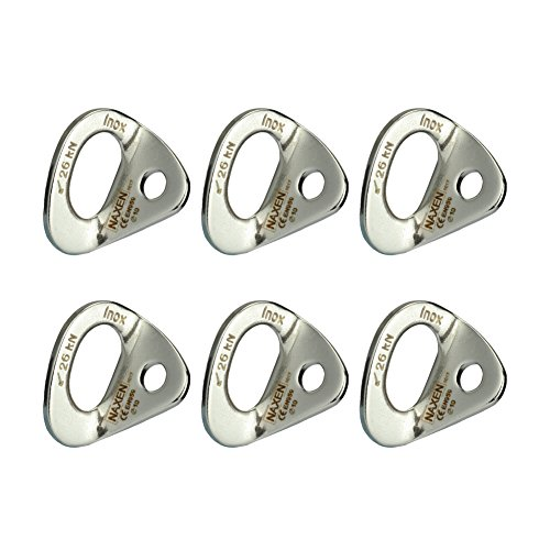 NAXEN 26kN Bolt Hanger Stainless Steel Climbing Hanger Climbing Anchor 10 mm / 3/8'' Bolt Pack of 6 by NAXEN