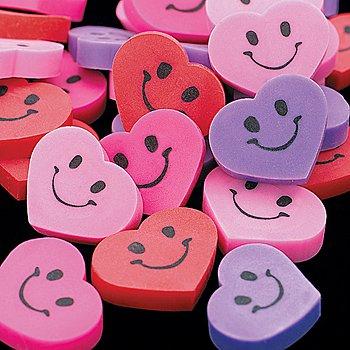 144 - Mini Smile Face Heart Erasers - 3/4 Inch