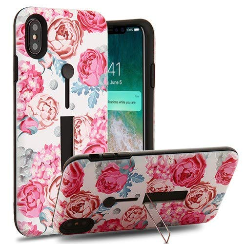Phonelicious Phone Cover for iPhone XS Max Finger Grip and Stand Series [Drop Protection] Kickstand Rugged Cover (Victorian Flower)