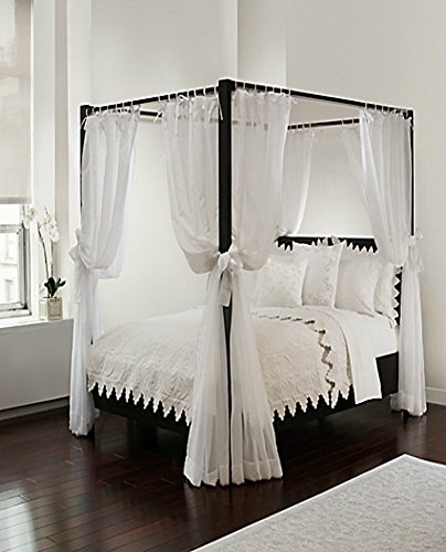 Royale Linens Canopy Set with Top Ties and Tie Backs, White Sheer, for All Bed Sizes (Drapes Curtains Hanging Sheer With)