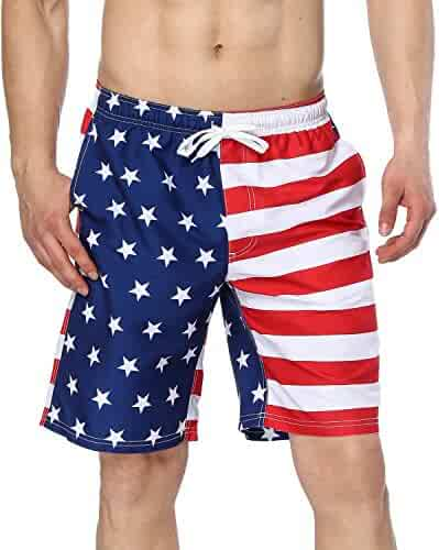 f83028f1fc Sociala Men's American Flag Swim Trunks US Flag Bathing Suit Board Swim  Shorts