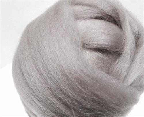 Grey Merino Wool Roving, grey wool roving, Needle Felting, Spinning Fiber, gray grey, medium grey, pewter gray roving, Saori weaving (200g of (Roving Fiber)
