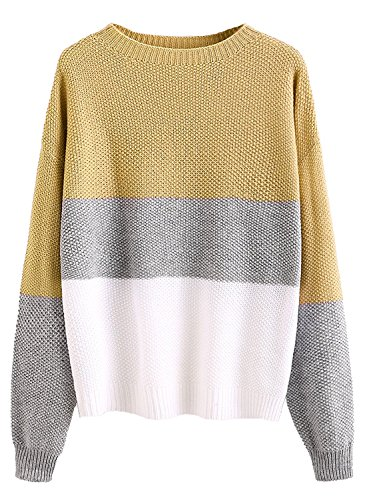 Milumia Women's Drop Shoulder Color Block Textured Jumper Casual Sweater (Medium, Yellow)