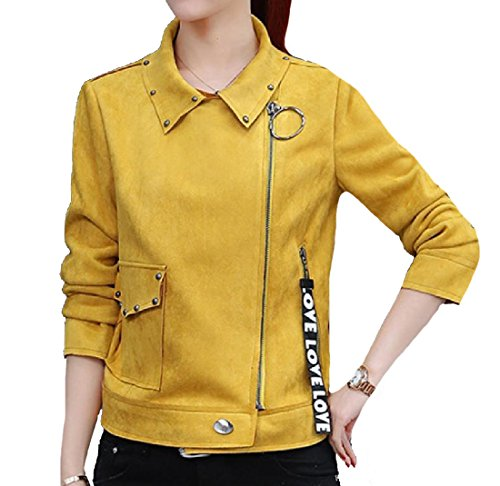 Motorcycle Jacket Blouson Thickening Fit Women XINHEO Suede 7 Regular 07wfXq