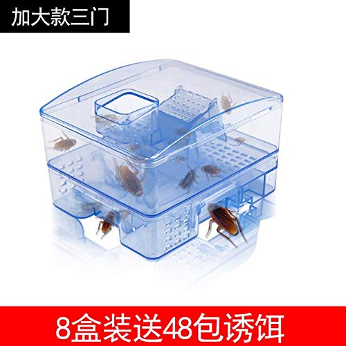Cockroach Trap Fifth Upgrade Safe Efficient Anti Cockroaches Killer Plus Large Repeller No Pollute for Home Office Kitchen   3 Doors 48 Bait for