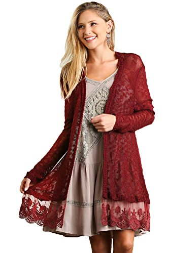 Umgee USA Womens Lightweight Lace Trimmed Open Cardigan Sweater-Misses and PLUS (Small, Wine) ()