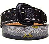Modestone Western Leather Belt Painted Eagle Concho 1.5'' Width 1/8'' Thick
