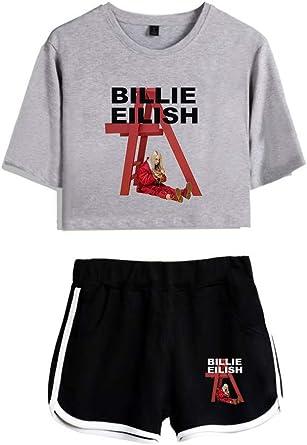 AMOMA - Pantalones Cortos para Mujer Billie Eilish y Crop Top Sets ...