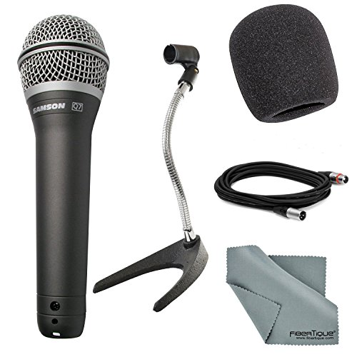 Photo Savings Samson Q7 Supercardioid Neodymium Handheld Microphone Bundle with Desktop Microphone Stand + Mic Muff + XLR Cable + Fibertique Cleaning Cloth ()