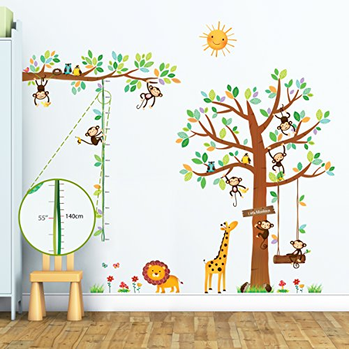 Decowall DM-1401P1402 8 Little Monkeys Tree and Height Chart Kids Wall Decals Wall Stickers Peel and Stick Removable Wall Stickers for Kids Nursery Bedroom Living Room