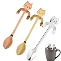 2 Pcs Stainless Steel Coffee Spoon Mini Cat, Tea Soup Sugar Dessert Appetizer Seasoning Bistro Spoon, Hanging Cup Spoon Kitchen Gadget