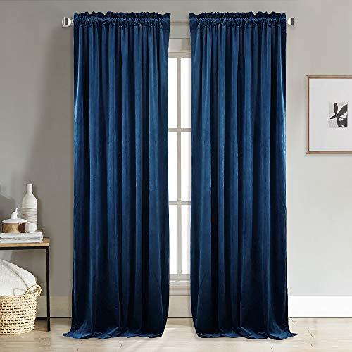 Velvet Drapes - NICETOWN Home Decor Blackout Velvet Curtains -Soft and Elegant Heavy Matt Solid Drapes/Panels for Living Room (2 Pieces, 96 inch Length)