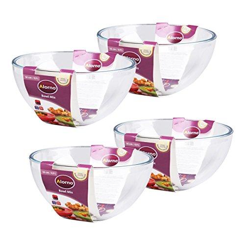 Alorno Borosilicate Glass, Mixing Serving Multipurpose Bowl, 900ml, Set of 4 Pcs