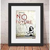 Quadro Decorativo Banksy Street & Vidro Anti-Reflexo& Paspatur 46x56cm Qt37