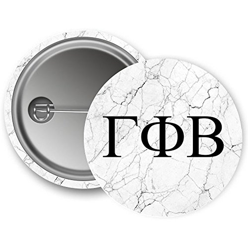 Gamma Phi Beta Sorority Light Marble with Black Letters Pin Back Badge 2.25-inch Button