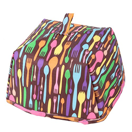 uxcell Oxford Fabric Forks Pattern Home Outside Zipper Closure Food Holder Cooler Bag Purple