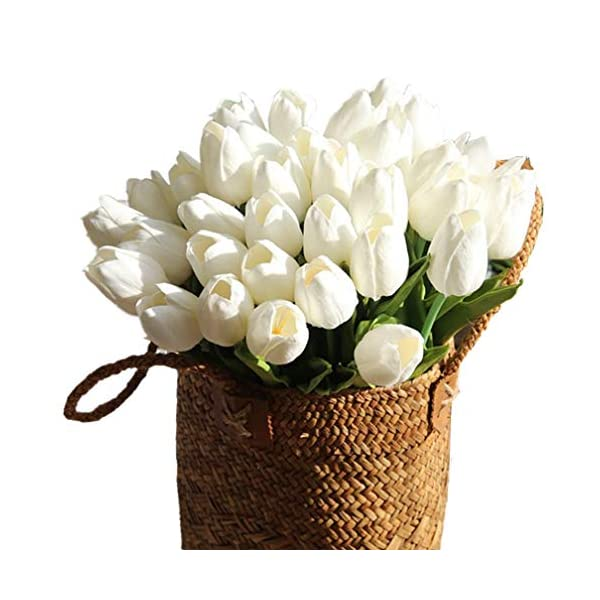 Mynse One Dozen Home Wedding Mini PU Fake Flowers Artificial Flowers Tulips