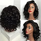 Sunwell 6A Brazilian Virgin Human Hair Short Bob Wavy Wig - Glueless Lace Front Wigs for Black Women, Natural Color 130 Density (14