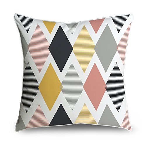 FabricMCC Modern Yellow & Gray Geometric Stripes Pattern Pattern Square Accent Decorative Throw Pillow Case Cushion Cover 18x18