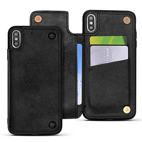 REDTREE Wallet Case for iPhone Xs MAX 6.5 Leather Protective Case with Kickstand Card Slot Holder Pocket+Magnetic Clasp Closure Shockproof Flip Cover for iPhone Xs MAX 6.5 inch (Black)