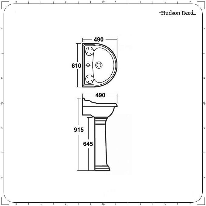 Lavabo con Columna en Cerámica en Estilo Moderno 610mm: Amazon.es: Hogar
