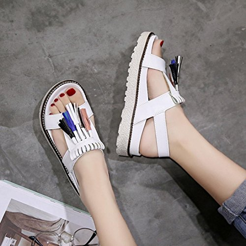 520d7e40974 ... Inkach Sandales Compensées Femmes - Mode Été Gland Sandales À  Plateforme Casual Chaussures À Brides Tongs ...