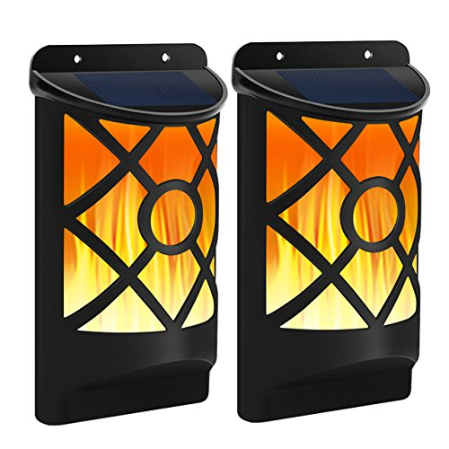 2 Lite Outdoor Lantern - Solar Flame Lights Outdoor, Aityvert Waterproof Flickering Flame Wall Lights with Dark Sensor Auto On/Off 66 LED Solar Powered Night Lights Lattice Design for Garden Pathway Patio Deck Yard 2 Packs