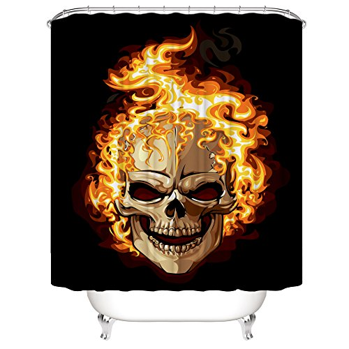 Muuyi Skulls Decorations Collection, Colorful Skull Design Skeletons All Saints Day Halloween Picture, Polyester Fabric Bathroom Shower Curtain Set with Hooks - 72×72 Inches