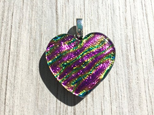 Dichroic Fused Glass Pendant - Pink Ripple Heart Pendant (Pendant Dichroic)