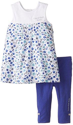 Calvin Klein Little Girls' Printed Tunic with Blue Leggings, Multi, 5