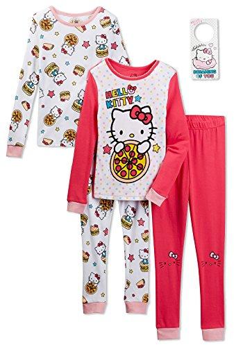 Hello Kitty Pj (Hello Kitty Girls 4 Piece Cotton Pajama Set, Kids Size)