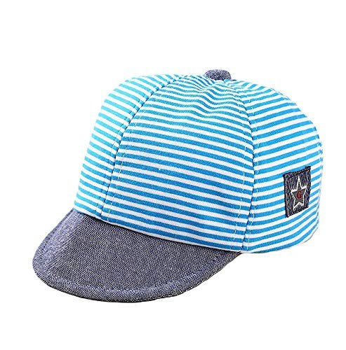 (VIVICMW Star Embroidered Cotton Striped Baby Cap Reversible Baseball Cap Infant Sun Hat Blue)
